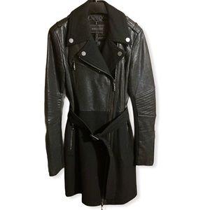 BCBGMaxAzria Black leather wool moto coat Johnna